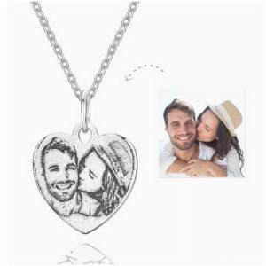 Engraved Heart Shadow Carving Photo Necklace Silver