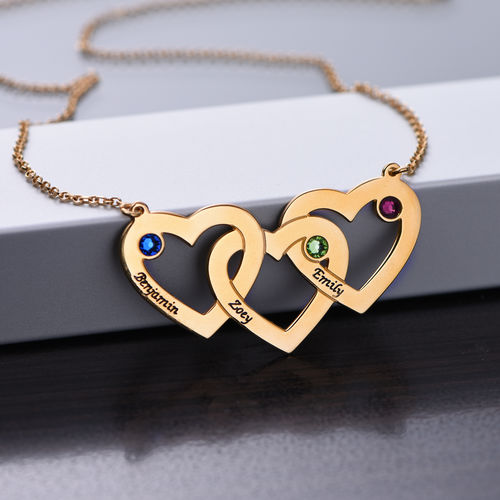 Intertwined Hearts Necklace with Birthstones - Gold Plated
