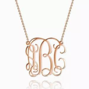 Large Monogram Necklace Rose Gold Plated
