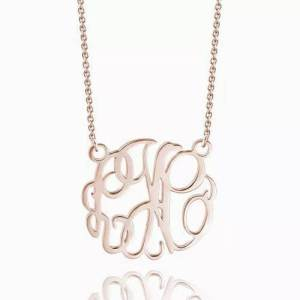 Monogram Necklace Rose Gold Plated