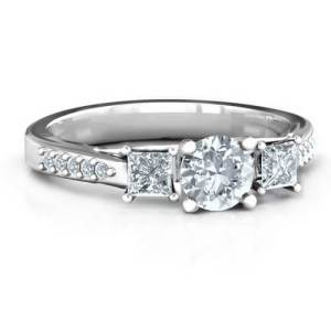 Three Stone Eternity Ring with Twin Accent Rows