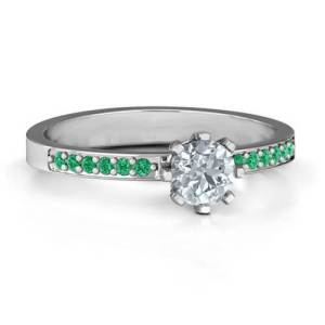 8 Prong Solitaire Set Ring with Twin Channel Accent Rows