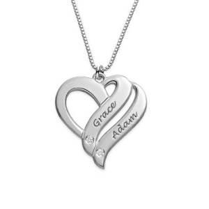 Two Hearts Forever One with Diamonds Necklace