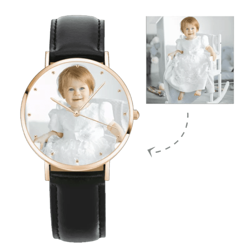Womens Rose Goldtone Photo Watch Black Leather Strap