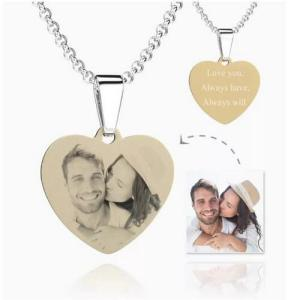Womens Heart Photo Engraved Tag Necklace With Engraving 18k Gold Plated Stainless Steel