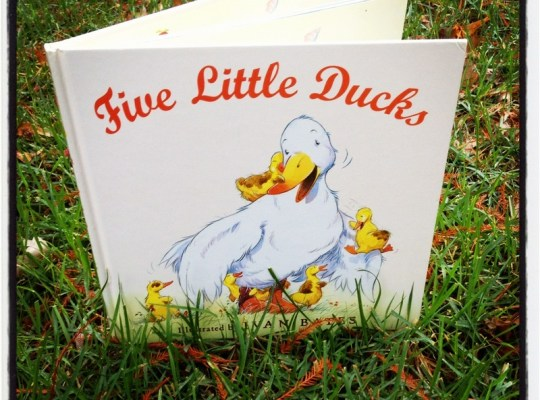 five little ducks book image, cute book in the grass