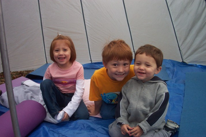 Camping, kids in a tent, Chino House