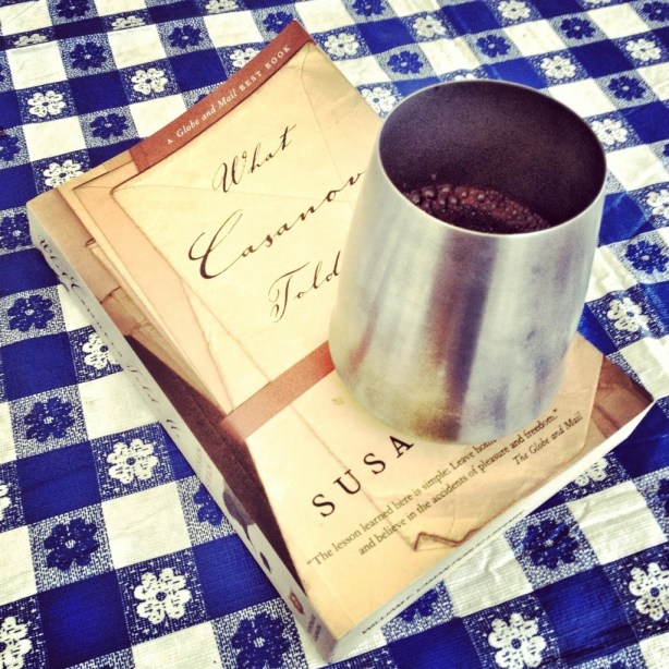 camping, book and wine, camping cup, chino house camps