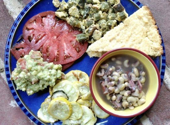 Summer Harvest Menu, Summer Squash, Purple Hull Peas, Tomato, Okra, Cornbread