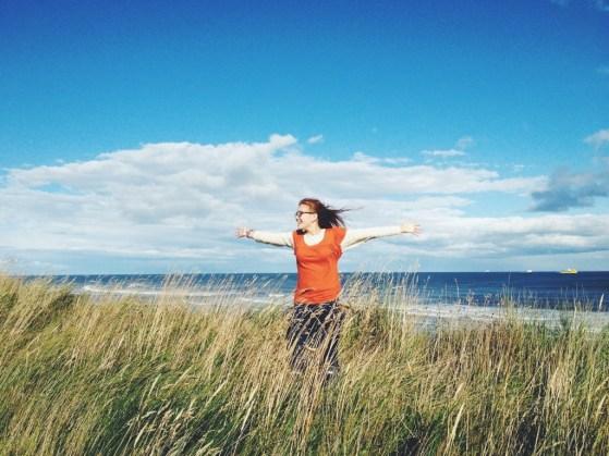 The North Sea Walk, Windy Seas, Wheat Fields, Scotland