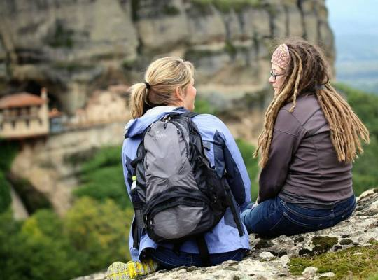Sarabeth and Alison in Meteora, Greece, Finding the Universe Photo by Laurence Norah