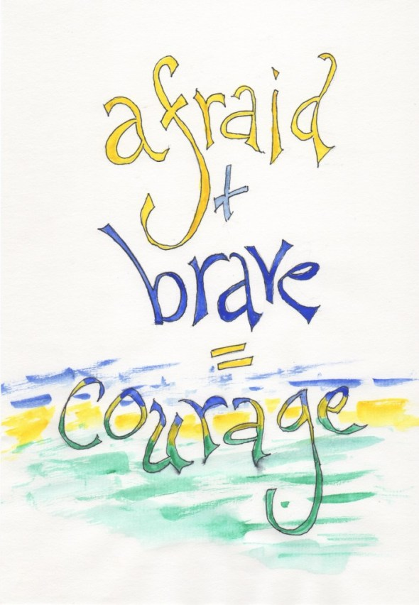 Afraid Brave Courage, Poster, Quotes, Lettering