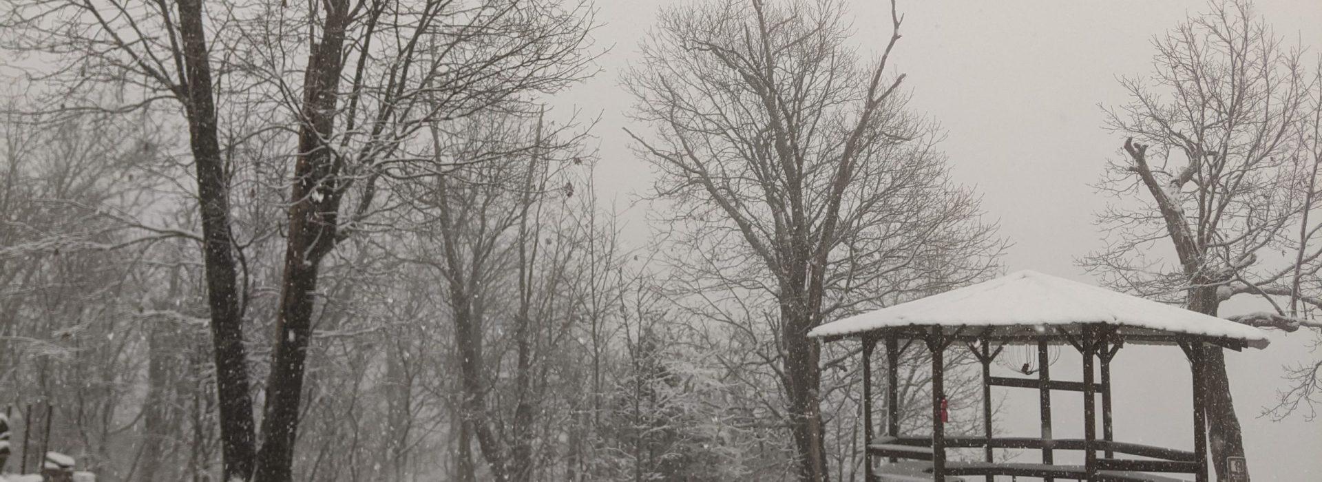 Walking in the snow, Castle Bluff