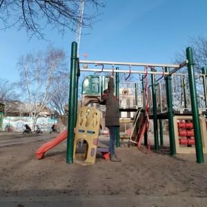 Woman playing at park
