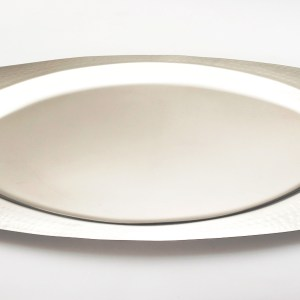 Silver Dimpled Oval Wedding Crown Tray