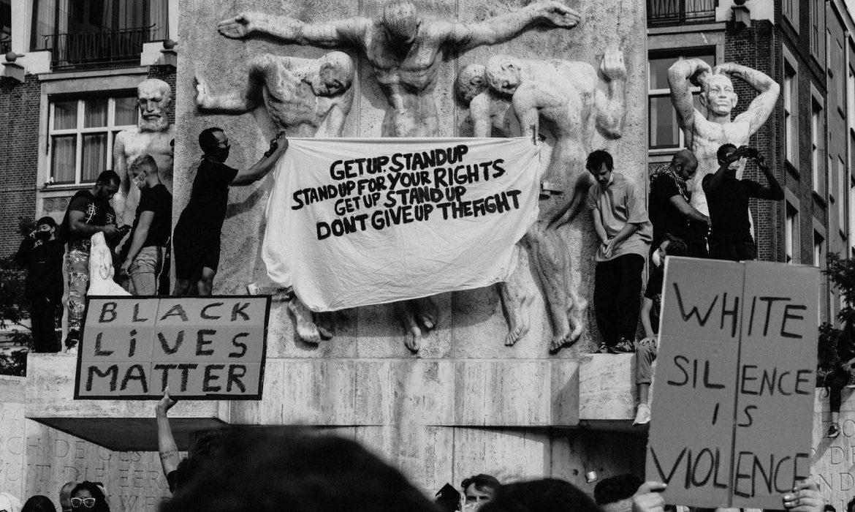 black lives matter poster at protest
