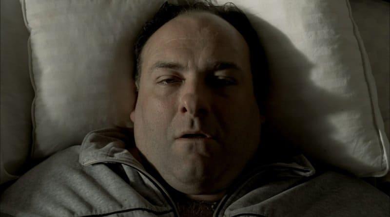 Tony Soprano in bed