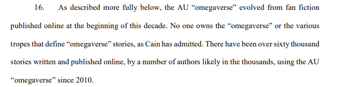 Excerpt from Omegaverse lawsuit