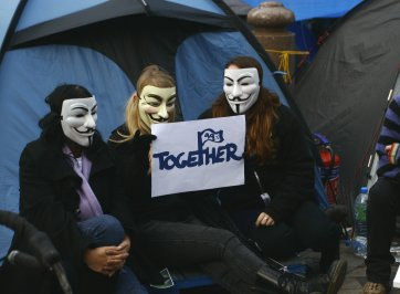 occupy wall street protestors in tent