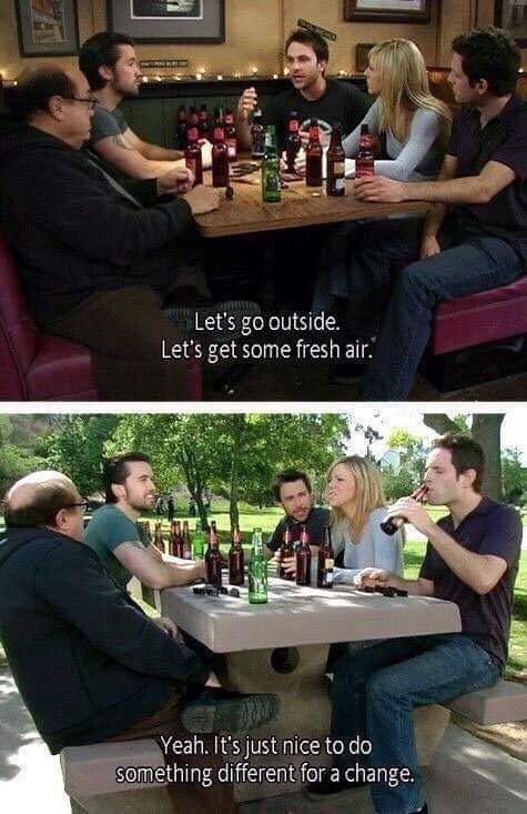 always sunny gang drinking in park