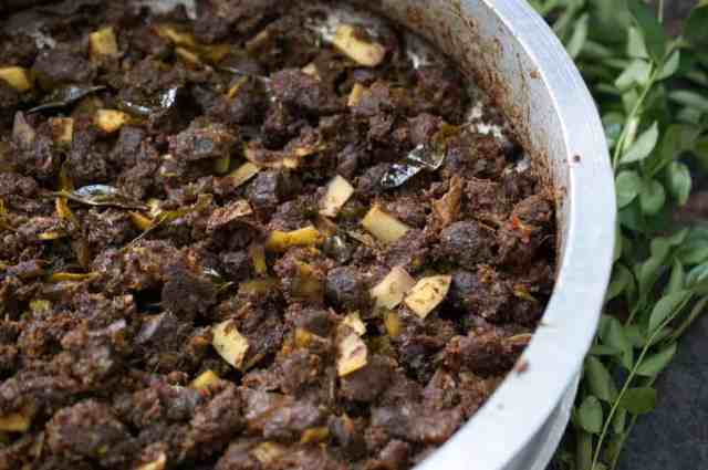 Beef cooked with spices and then stir-fried with coconut slices and curry leaves. This Kerala style beef fry / Beef Ularthiyathu is an easy and delicious appetizer or a great side-dish with rice. Beef Varattiyathu is one of the favorite dishes of Malayalees. An excellent touching for alcohol too
