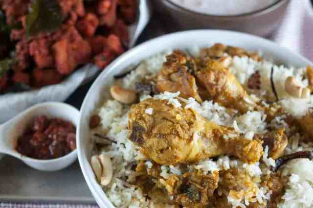 Chicken marinated and cooked with spices and layered with rice. Nadan chicken biriyani is one of my favorites. An easy, tasty and delicious Kerala style chicken biriyani recipe.An Indian one pot meal. This recipe is originated from Malabar region of Kerala.