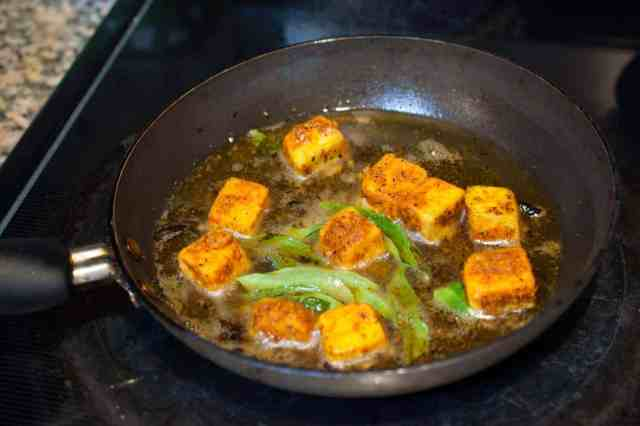 Indian cottage cheese / Paneer shallow fried with ginger-garlic, spices, and curry leaves. This paneer fry is an easy and yummy appetizer for any occasions.