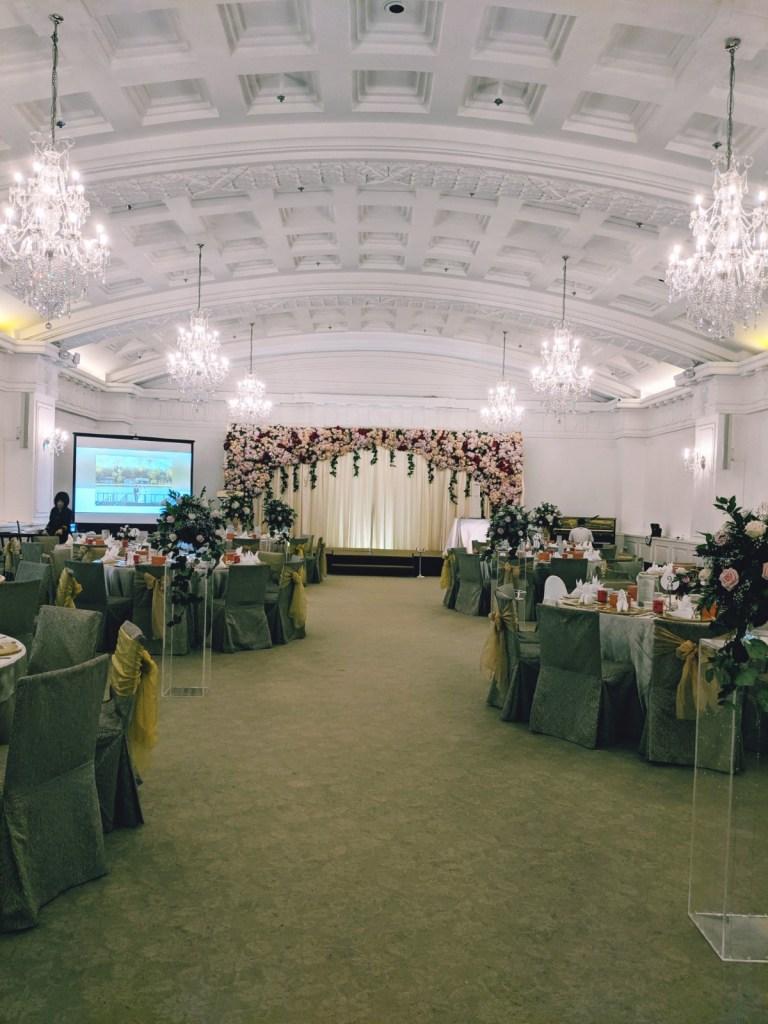 Fullerton Hotel Singapore Wedding Emcee MC Singer Live Band Music Ballroom Menu Wedding Favour