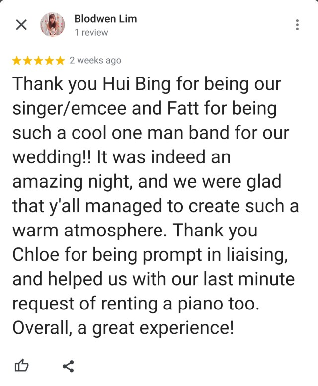 Best Live Band Wedding Singapore Review
