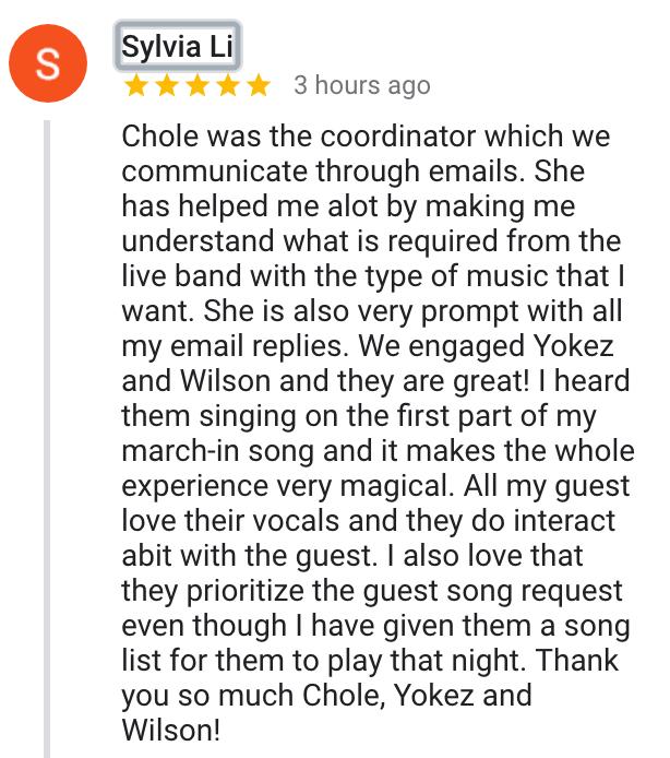 Best Live Band Singapore Wedding Corporate
