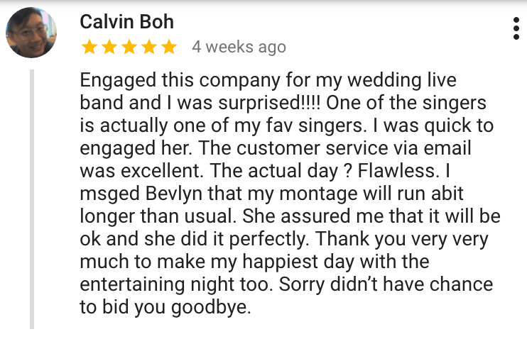 Best Singapore Wedding Live Band Music Singer Emcee Review