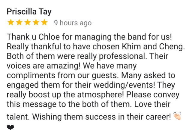 Best Singapore Wedding Live Band Music Singer Emcee Singapore
