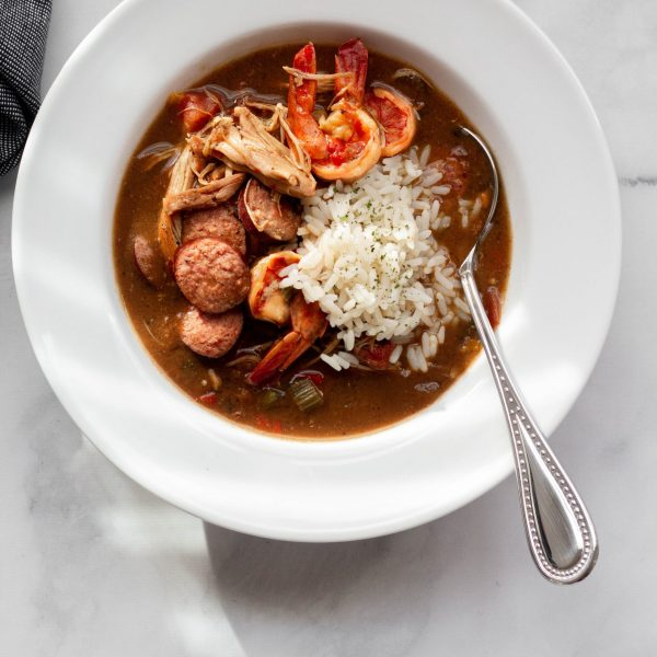 Chicken shrimp & smoked sausage gumbo