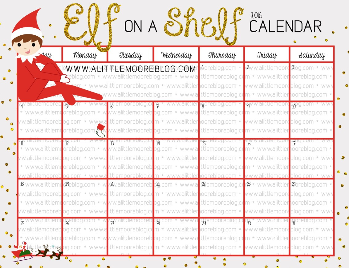 Blank Plan Your Own Elf on the Shelf Calendar - A Little Moore