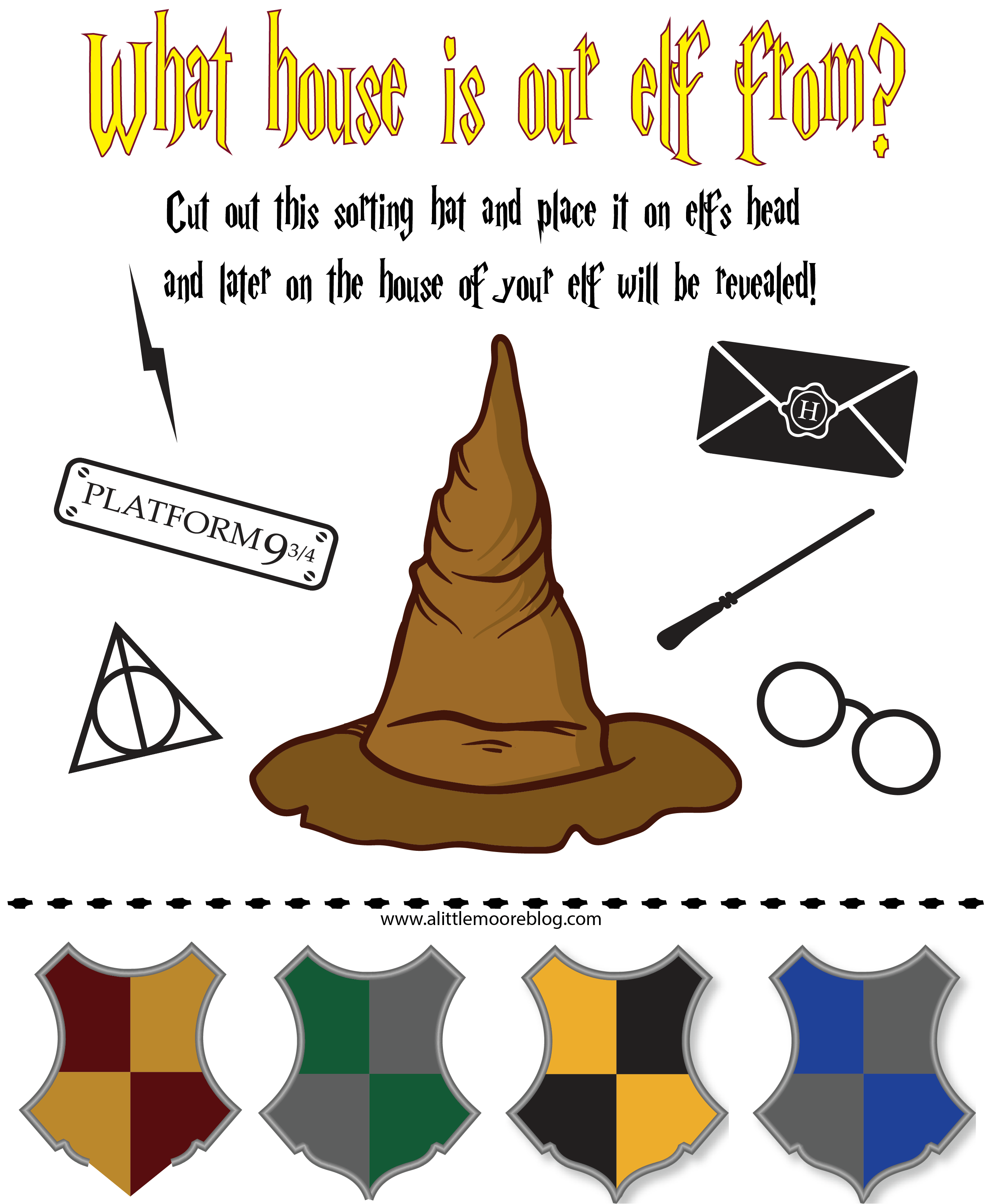 graphic regarding Elf Hat Printable named Elf upon the Shelf Harry Potter Sorting Hat Free of charge Printable