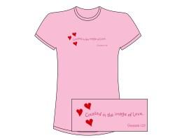Women's 3 Heart Short Sleeve Tee – Pink