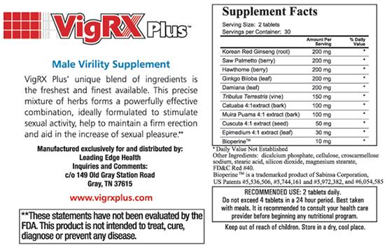 VigRX Plus Supplement Facts Label