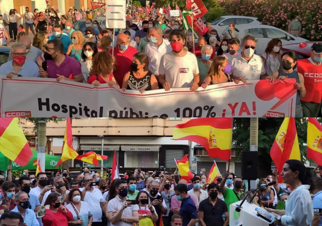 Arriba, manifestación bajo el lema Aljarafe Despierta; abajo, mitin de Rocío Monasterio (VOX) en San Juan. Imágenes de CCOO y VOX.