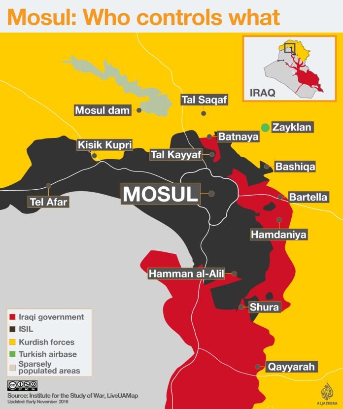 Mapa kontrole teritorija u Mosulu(06.11.2016)