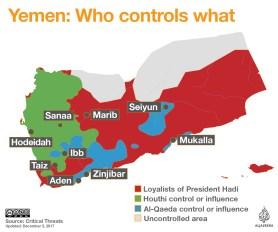 Yemen control map December