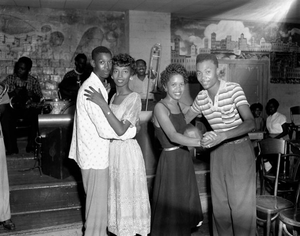 Teenagers dancing at Dallas Empire Room on 6 August 1956 take a break to pose for Hickman. By the early and mid-1960s, larger marches and protests helped to finally open the door for major civil rights legislation. Eventually schools and colleges began to integrate, black Americans gained political rights, and American culture was challenged and changed. [RC Hickman; RC Hickman Photographic Archive, Briscoe Center for American History]