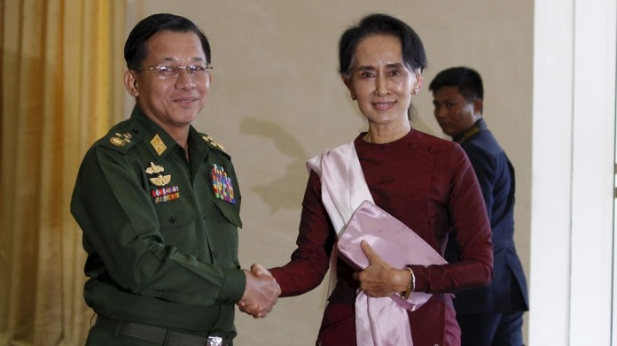Myanmar army chief and Aung San Suu Kyi