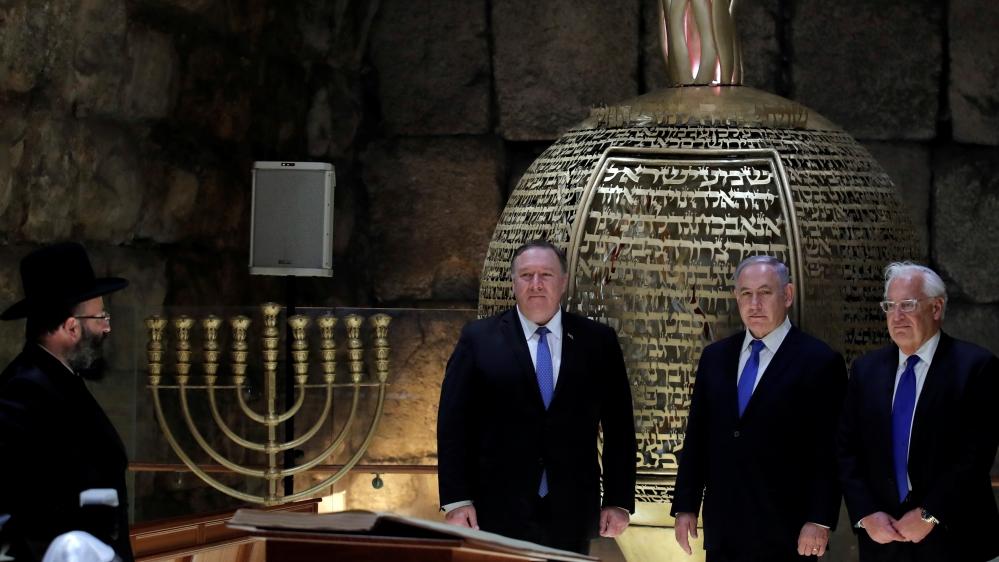 Israeli Prime Minister Benjamin Netanyahu, U.S. Secretary of State Mike Pompeo and U.S. Ambassador to Israel David Friedman visit the Western Wall Tunnels in Jerusalem's Old City