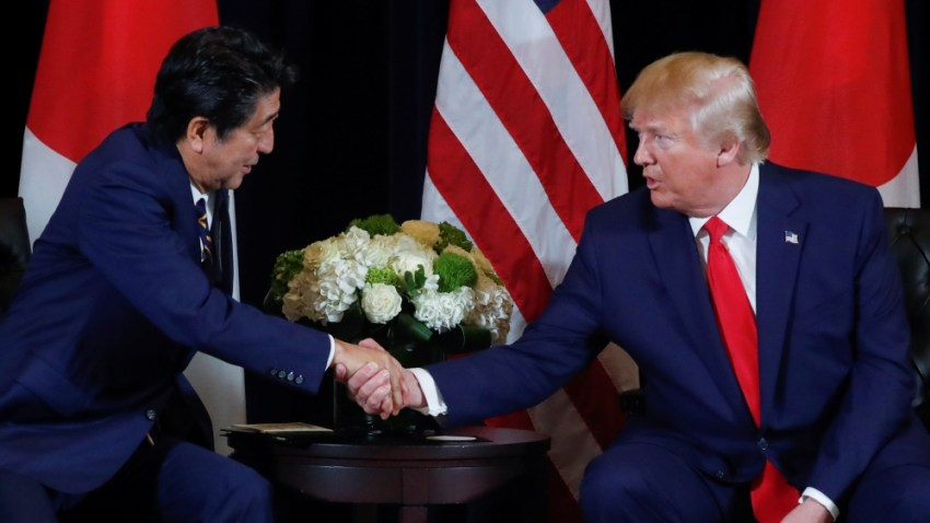 U.S. President Trump meets with Japan's Prime Minister Abe in New York City, New York