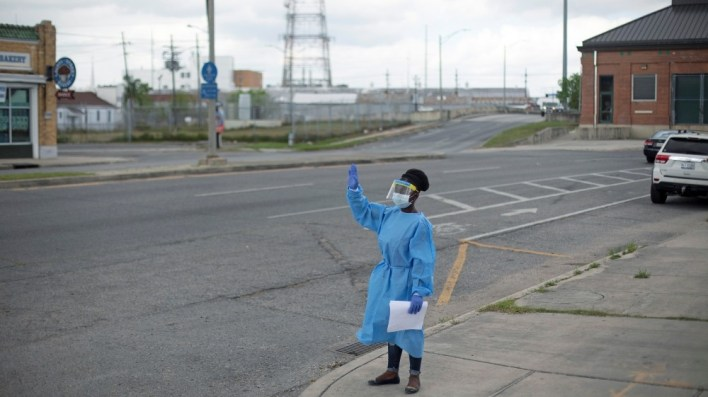 ISO Certificate Drive-through testing facility for the coronavirus disease (COVID-19) in New Orleans A staff member of Odyssey House Louisiana (OHL)