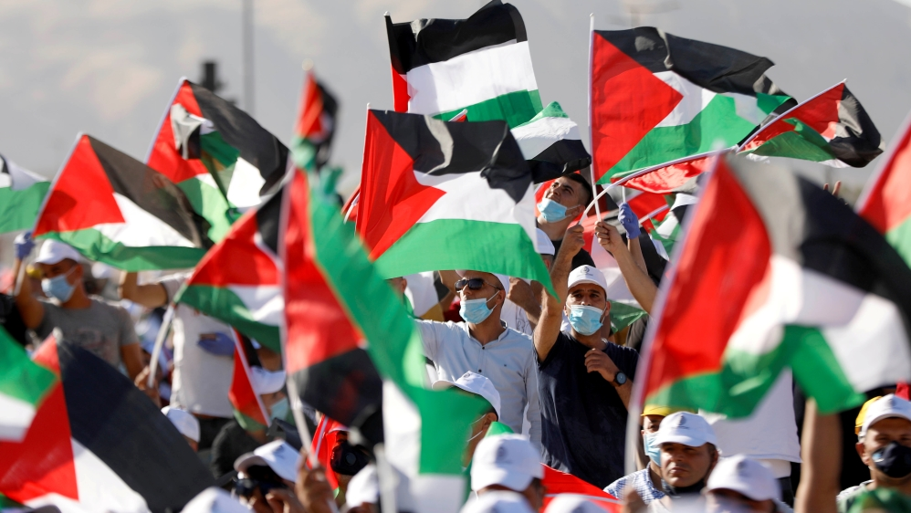 PLO rally to protest against Israel's plan to annex parts of the occupied West Bank