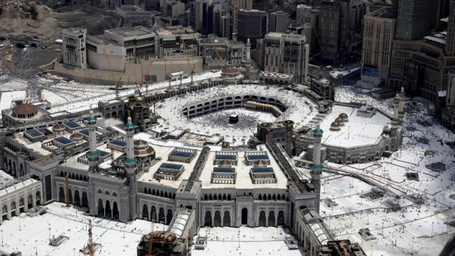 An aerial view of Kaaba at the Grand mosque in the holy city of Mecca