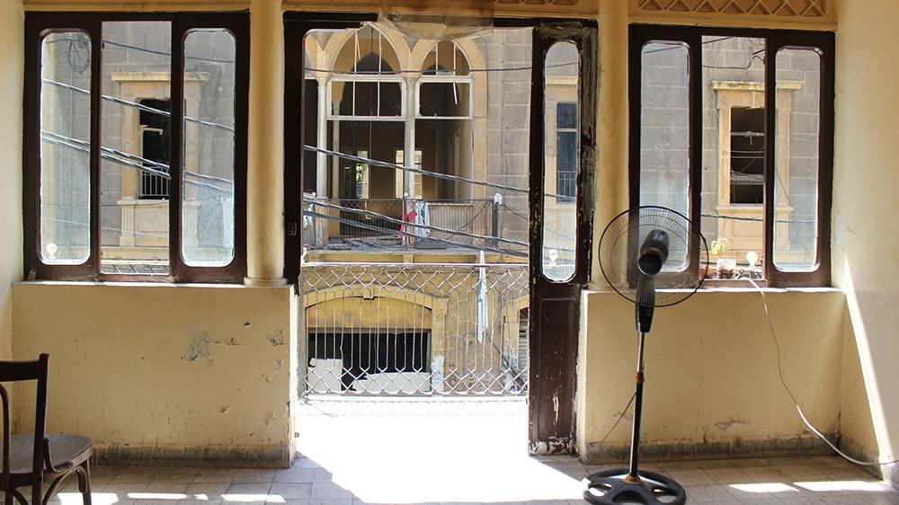 Beirut homeless - Many rooms at the Saadeh Hostel in the historic Gemmayze neighbourhood have become uninhabitable after the blast.  [Arwa Ibrahim/Al Jazeera]