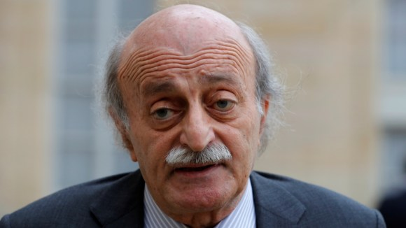 Lebanese Druze leader Walid Jumblatt leaves the Elysee Palace in Paris following a meeting with French President Francois Hollande