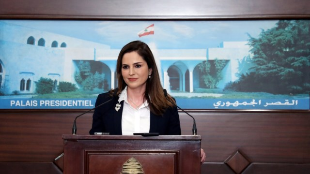 Information Minister Manal Abdel Samad attends a news conference, at the presidential palace in Baabda